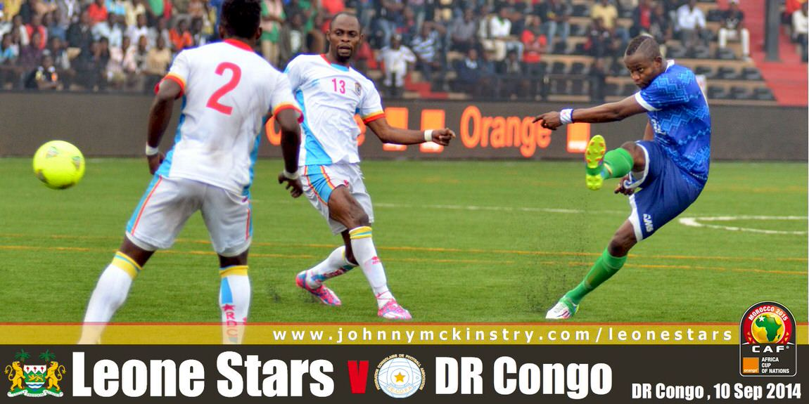 David Simbo powers a shot at the DR Congo keeper, 10 Sept 2014 (Pic: Darren McKinstry)]