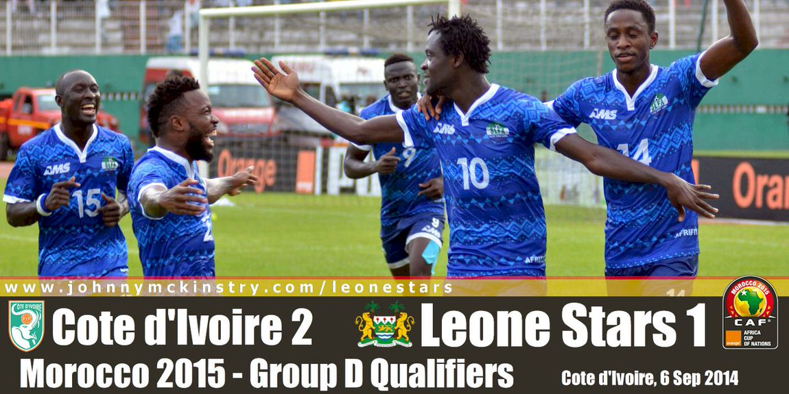 The Leone Stars celebrate going 1-nil in the first half [Leone Stars v Ivory Coast, 6 September 2014 (Pic © Darren McKinstry / www.johnnymckinstry.com)]