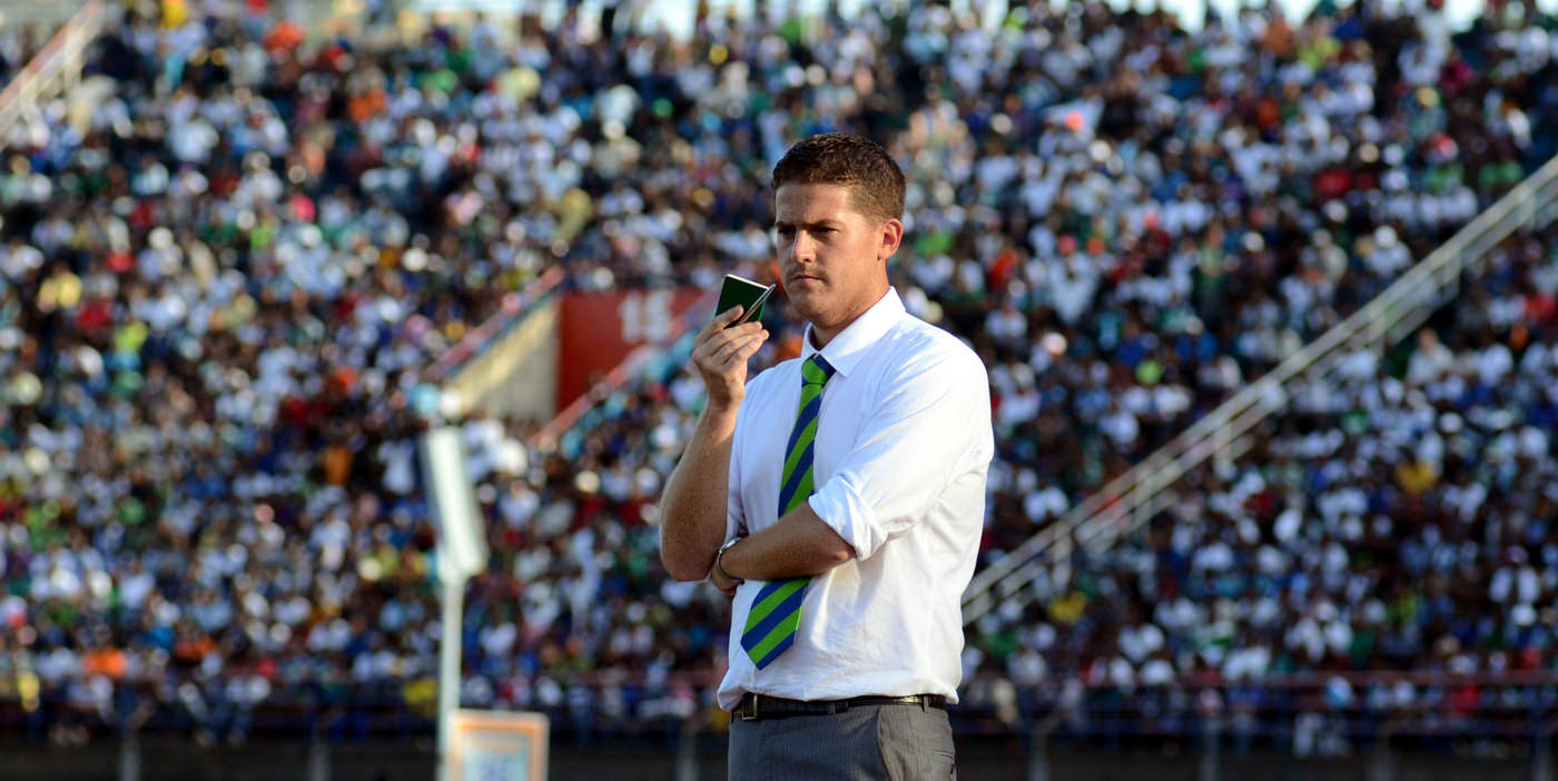 Leone Stars Head Coach Johnny McKinstry looks on as the Leone Stars maintain their lead over Tunisia, June 2013 (Pic: Darren McKinstry)