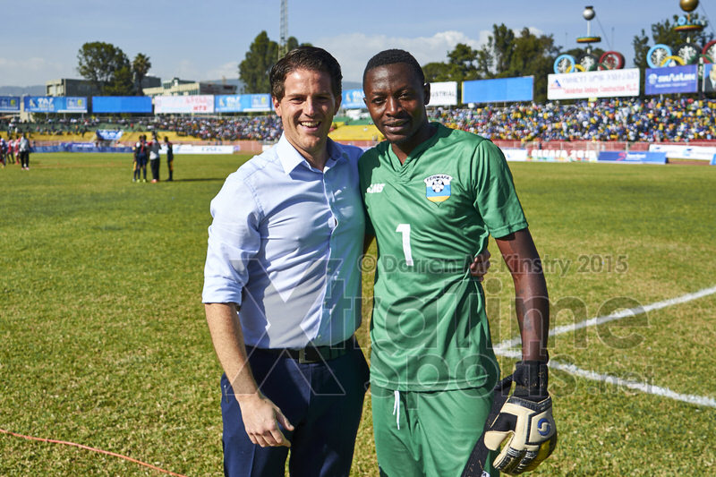 Coach McKinstry with Eric NDAYISHIMIYE (1) at the end of the penalty shoot-out  [Rwanda vs Sudan, CECAFA 2015, Semi final, 3 Dec 2015 in Addis Ababa, Ethiopia.  Photo © Darren McKinstry 2015, www.XtraTimeSports.net]