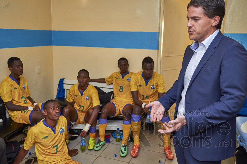 Coach McKinstry speaks to players at half-time during the final. [Rwanda vs Uganda, CECAFA 2015 Final, 5 Dec 2015 in Addis Ababa, Ethiopia.  Photo © Darren McKinstry 2015, www.XtraTimeSports.net]