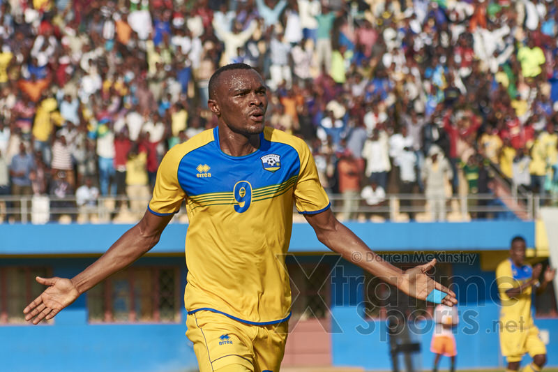 Jacques Tuyisenge celebrates the first of his two goals against Mozambique