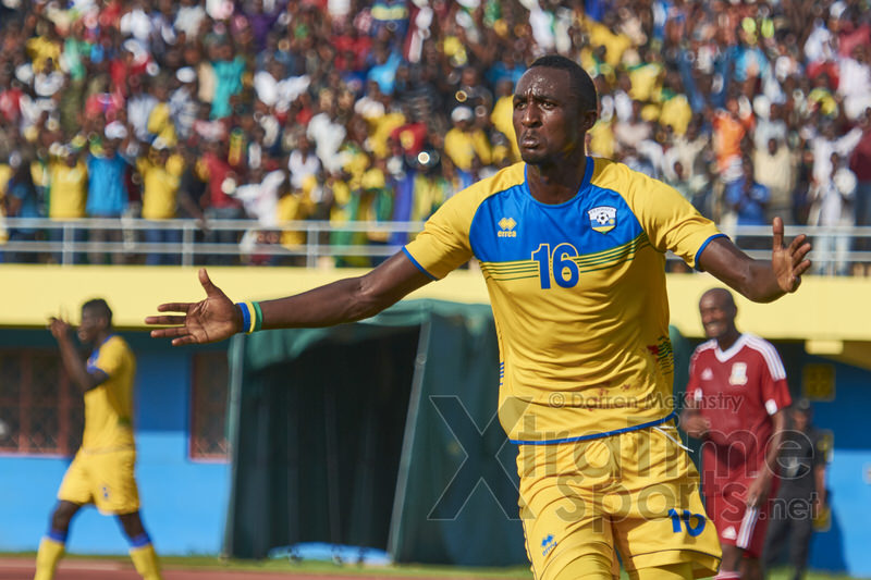 Ernest SUGIRA celebrates putting Rwanda 2-0 ahead. [Rwanda v Mauritius, AFCON 2017 Qualifier, 29 March 2016 in Kigali, Rwanda.  Photo © Darren McKinstry 2016, www.XtraTimeSports.net]