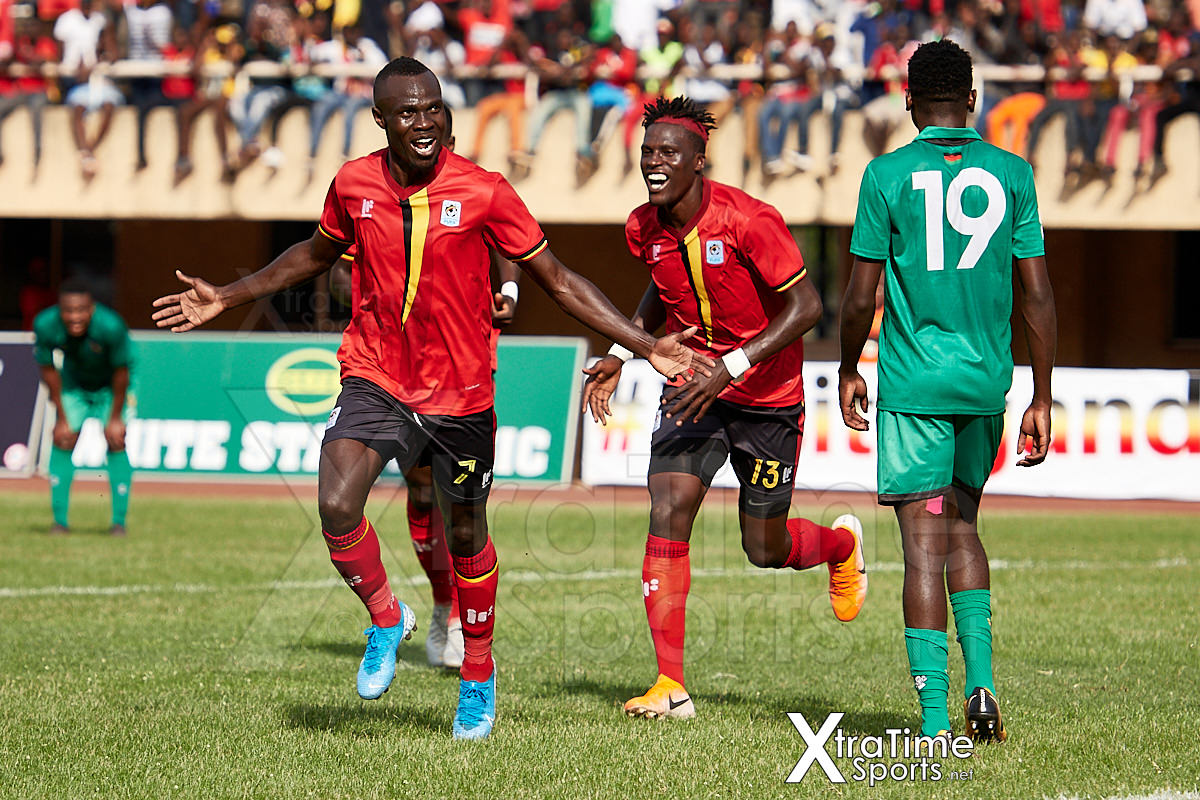 Kampala, Uganda. 17 Nov 2019.  Emmanuel Okwi (7, Uganda) celebrates putting Uganda 1-0 ahead.  Uganda v Malawi, CAF Nations Cup / African Cup of Nations Qualifier.  Nelson Mandela Stadium at Namboole.  Credit: XtraTimeSports (Darren McKinstry)