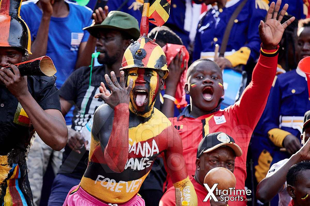 Kampala, Uganda. 17 Nov 2019.  Uganda fans celebrate Emmanuel Okwi (7, Uganda) putting Uganda 1-0 ahead.   Uganda v Malawi, CAF Nations Cup / African Cup of Nations Qualifier.  Nelson Mandela Stadium at Namboole.  Credit: XtraTimeSports (Darren McKinstry)