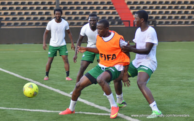 Michael Lahoud, Alhassan 'Crespo' Kamara, Albert Kargbo and Abdul Rahman Bangura   [Training camp ahead of Leone Stars v DR Congo on 10 September 2014 (Pic © Darren McKinstry / www.johnnymckinstry.com)]