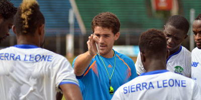 Coach McKinstry working with the Leone Stars  [Training Camp ahead of Leone Stars v Seychelles Game in Freetown on 19 July 2014 (Pic: Darren McKinstry)]